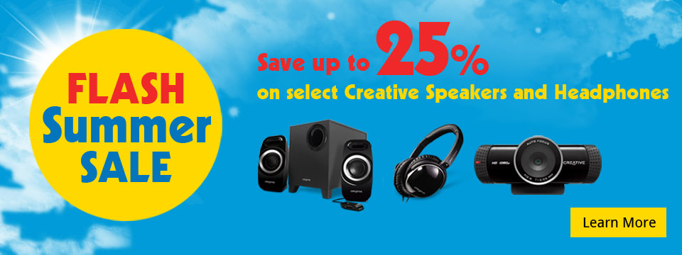 Flash Summer Sale - Save up to 25% on select Creative speakers and headphones