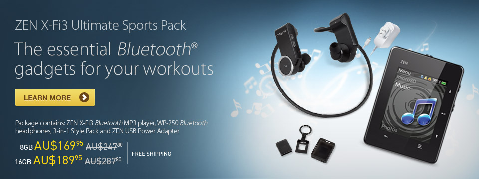 ZEN X-Fi3 Ultimate Sports Pack - The essential Bluetooth gadgets for your workouts