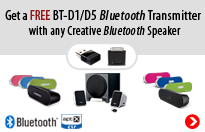 Get a FREE BT-D1/D5 Bluetooth Transmitter with any Creative Bluetooth Speaker