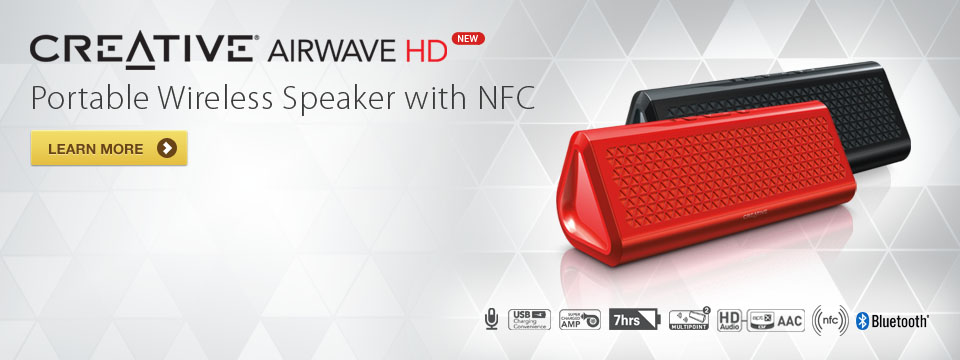 Creative Airwave HD - Portable Wireless Speaker with NFC